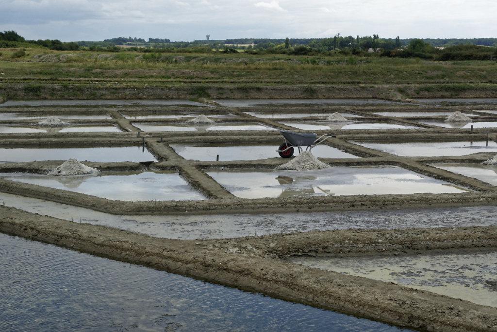 Bassins de récolte ou aires saunantes au deuxième  plan